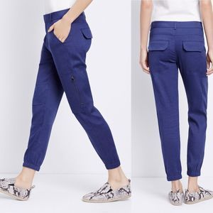 Vince Fossil Linen Blend Cargo Pants in Blue